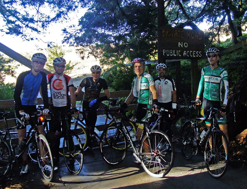 Left to right, Marcus, me, Jan, Kevin, Syl & Eric at the gate on Bear Gulch