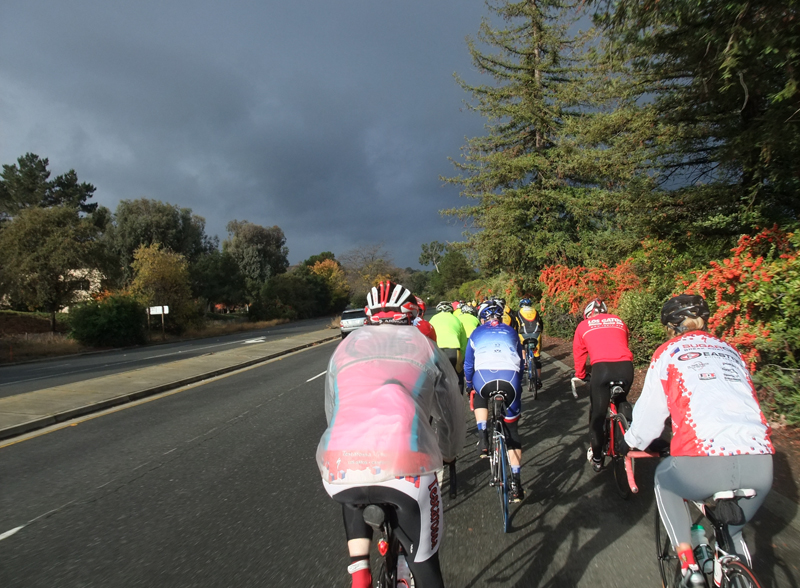 Lauren Ward's memorial ride, for which the skies miraculously cleared at the start, but cold rain returned before reaching the spot where she was hit.