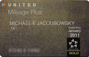 The coveted United 1K card, something I will likely see only once in my life, at least one with my name on it.