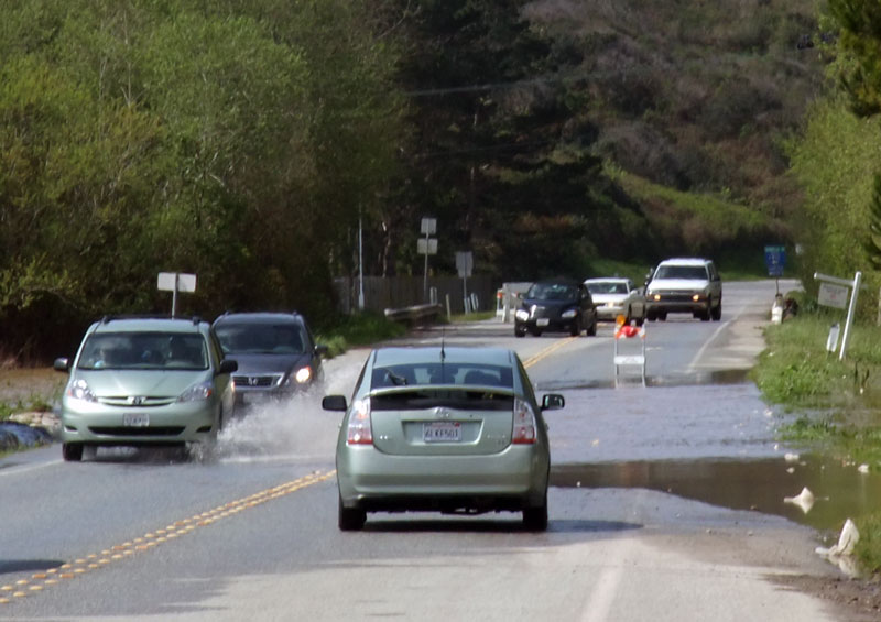 No way for a bike to get to the coast from Pescadero today. Some cars weren't even brave enough to drive through this flooded section.