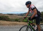Kevin showing off his new bike on the climb up Stage Road to Highway 1