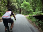 """Kevin approaching the Tunitas Creek """"Bridge of Death"""" that marks the beginning of the steep section"""