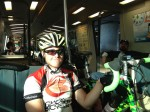 Riding BART from Millbrae to Walnut Creek. No place to stash your bike; you hold onto them for the duration.