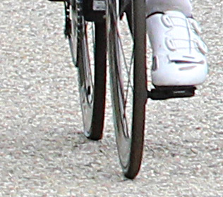 Close-up of the flat rear tire