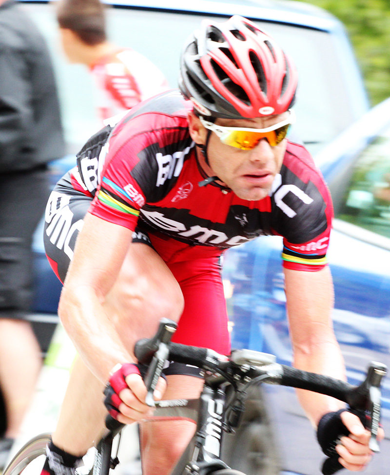 Not-so-great photo of Cadel feeling not-so-great after several flat tires