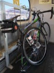 My bike looking very undignified on CalTrain