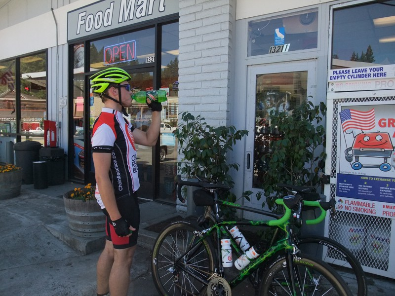 Boulder Creek gas stations/refueling stop. 93 degrees so we went through a lot of water.