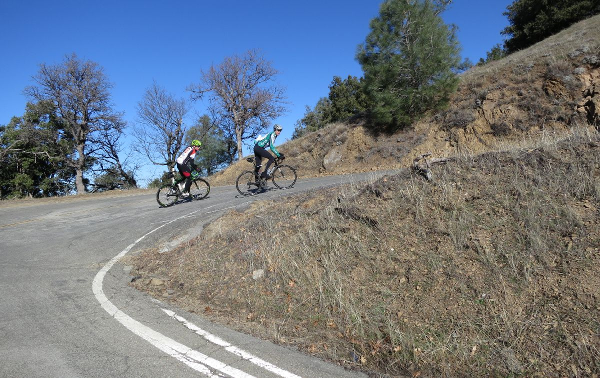 Eric leading Kevin through a hairpin.