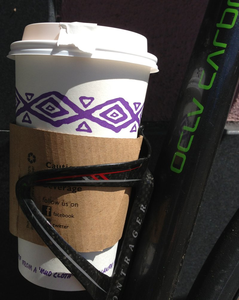The all-important Bontrager $50 carbon-fiber coffee cup holder