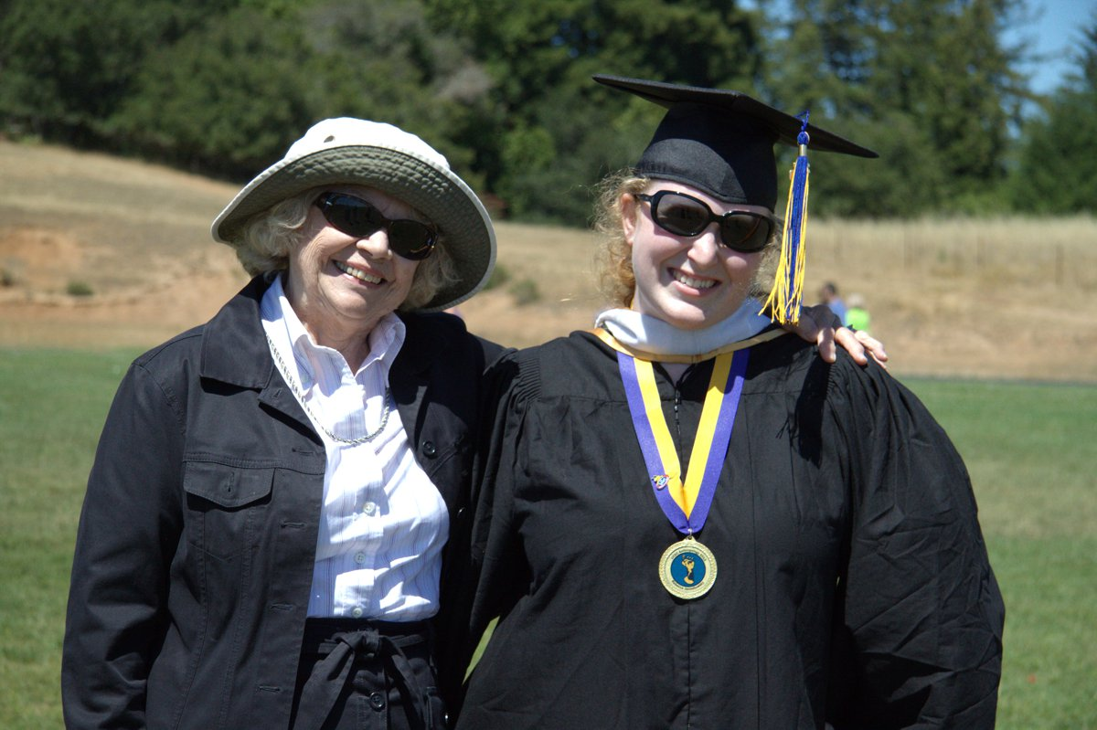 Becky with Grandma. Grandma graduated from San Jose State, a place with a less-dignified mascot than UCSC for sure!
