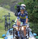 Contador chose to pull not only a car, but a motorcycle as well up the hill!