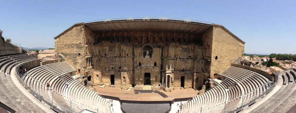 Panorama shot of Roman amphitheater in Orange, France