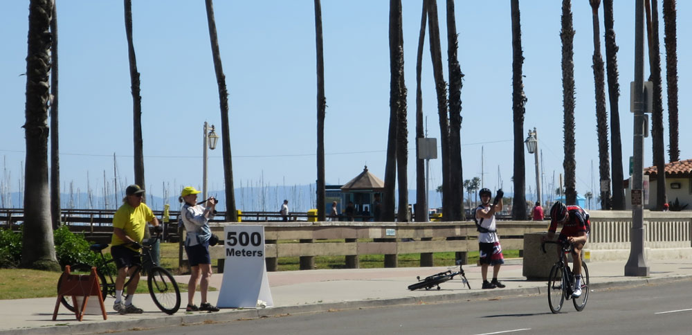 Taylor Phinney heading for the stage win in Santa Barbara