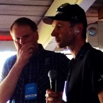 Trek's President, John Burke, talking with Jens Voigt after the stage.