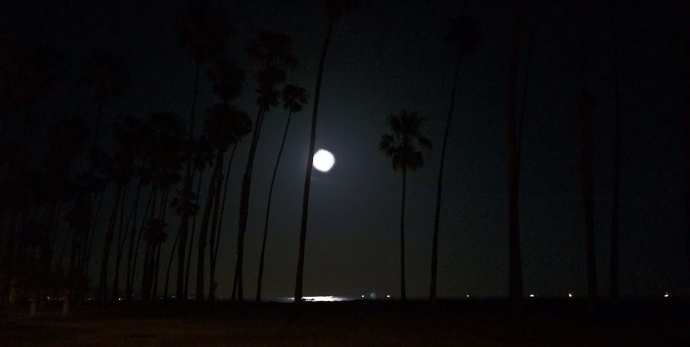 Not the usual photo for this site! But the moonlit Pacific in Santa Barbara, with a cooling ocean breeze kicking in, was a lot nicer than the 96 degree temps I saw earlier when riding.