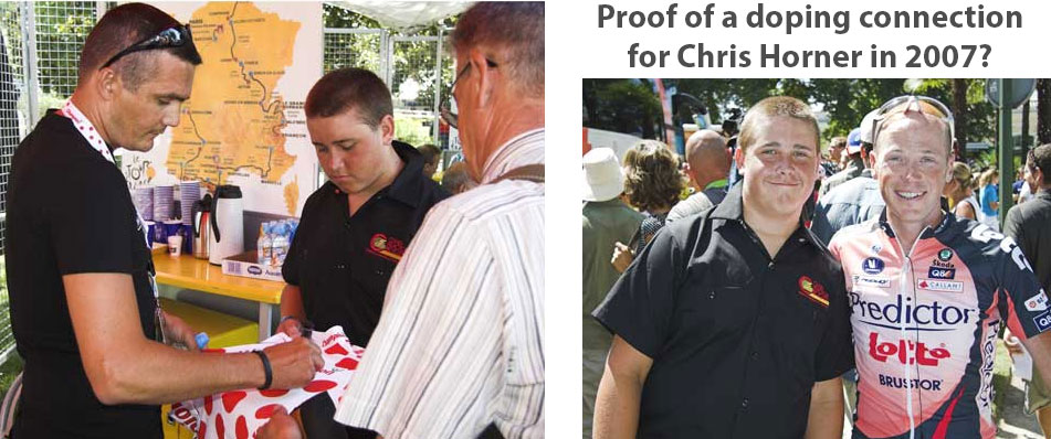 July 25, 2007. On the left we have one of the most-notorious dopers in the history of sport, Richard Virenque, meeting with someone some of us just might know. On the right, just minutes later, that same person is now seen with Chris Horner. Coincidence?