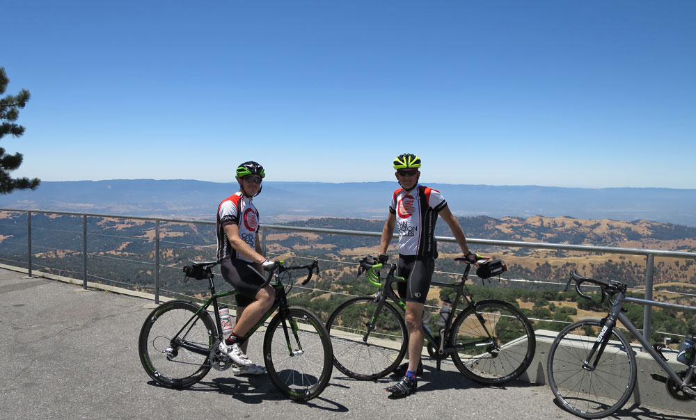 Rarely seen on this, or any other website, a photo showing me (on the right; that's my son Kevin on the left, at the top of Mt Hamilton)