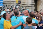 Vino, Tinkoff (the guy being hoisted) and other Astana folk celebrating Nibali's win