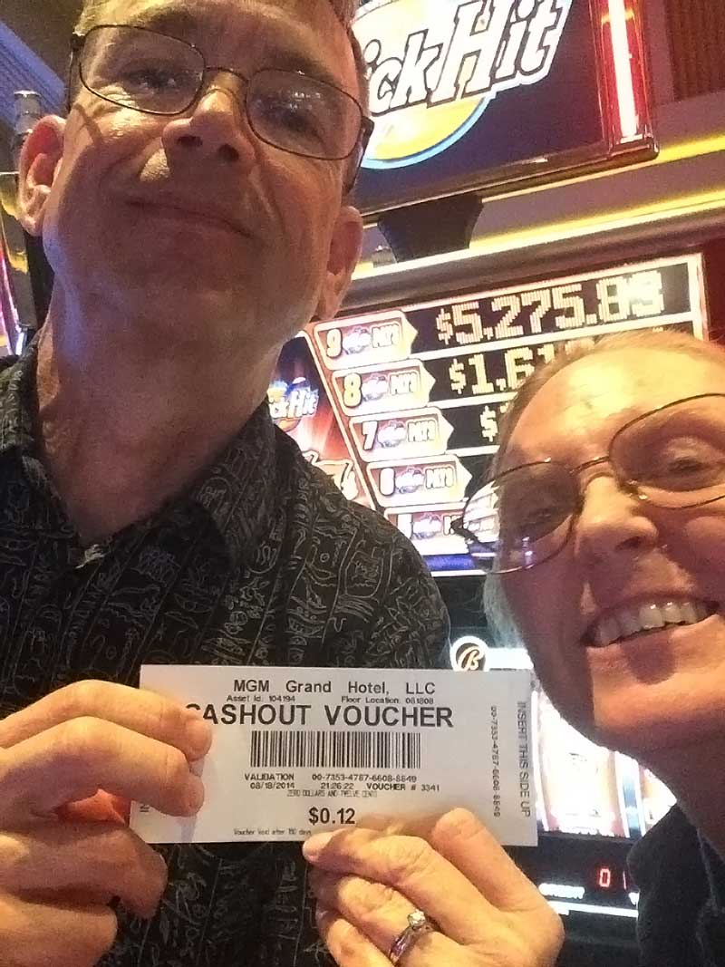 That's my wife and I and our big winnings! Obviously we no longer need to work and we're looking forward to a life of leisure and travel. :-)