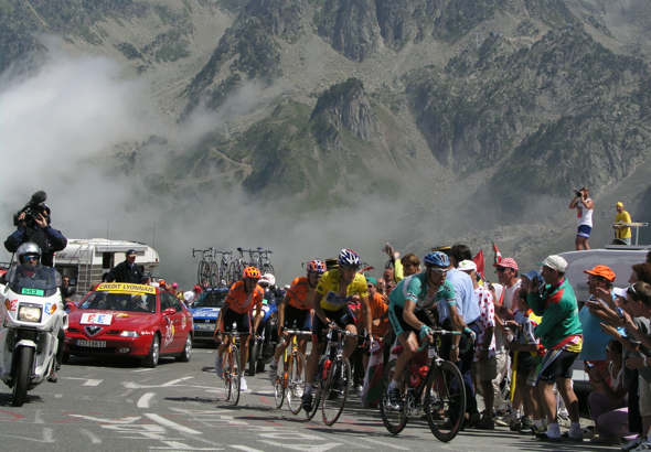 Jan Ulrich, doper, leading Lance Armstrong, doper, ahead of several other known dopers on the Tourmalet in 2003.
