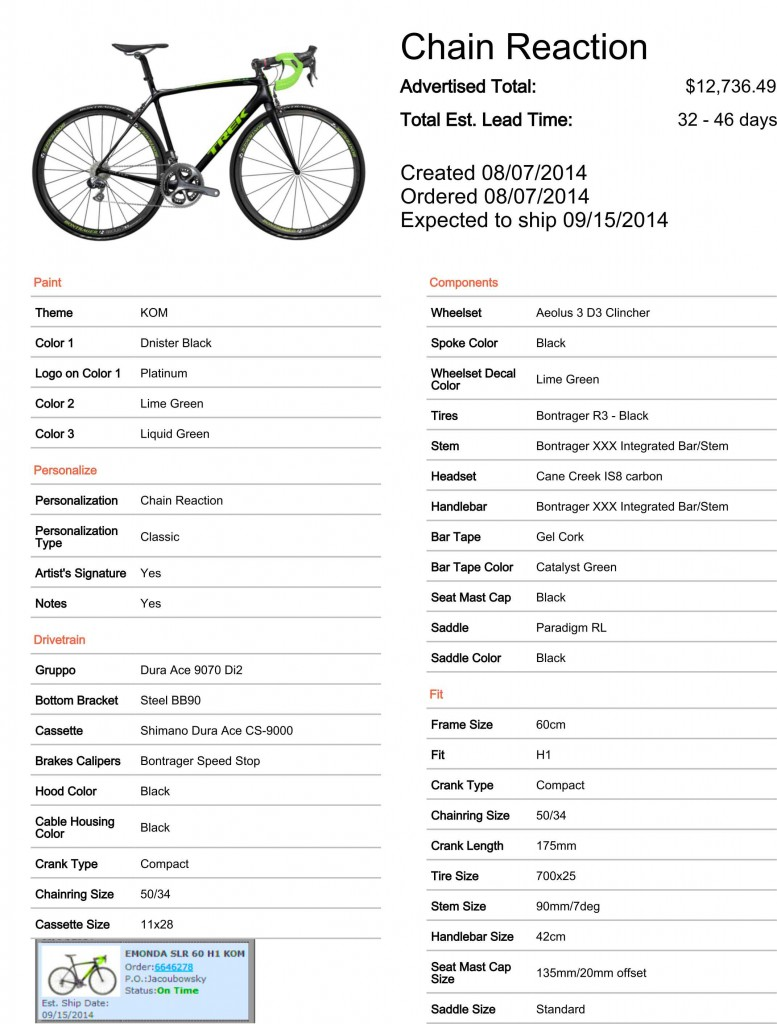 Click on the photo for a complete description of my new bike, all the specs, everything.