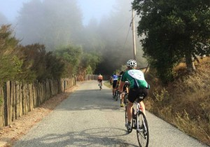 Riding back up into the fog on West Old LaHonda