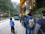 The long line at 5:10am for the busses to Machu Picchu
