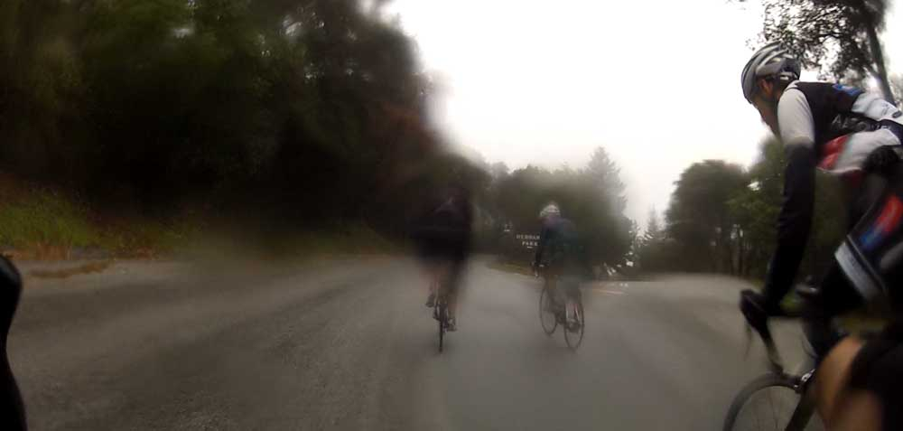 Sunday we were enjoying mid-70s on our ride to Santa Cruz. This morning, winter came back.