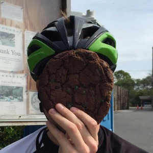 "Mandatory ""does it cover your face"" cookie test in Pescadero. It passed."