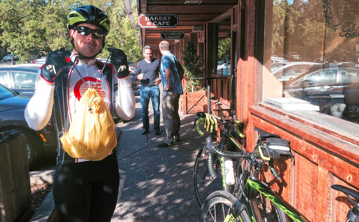 Really, riding isn't all about eating. But this tiny stuffable backback, one of the Tour de France Caravan handouts, works great for picking up breakfast at the end of a ride!