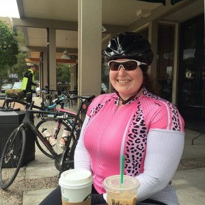 Becky enjoying her mid-ride coffee