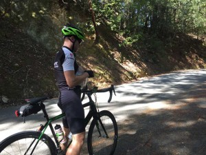 Going from full-speed to zero in the middle of a climb isn't easy on the legs; time for Kevin to take some Tylenol.