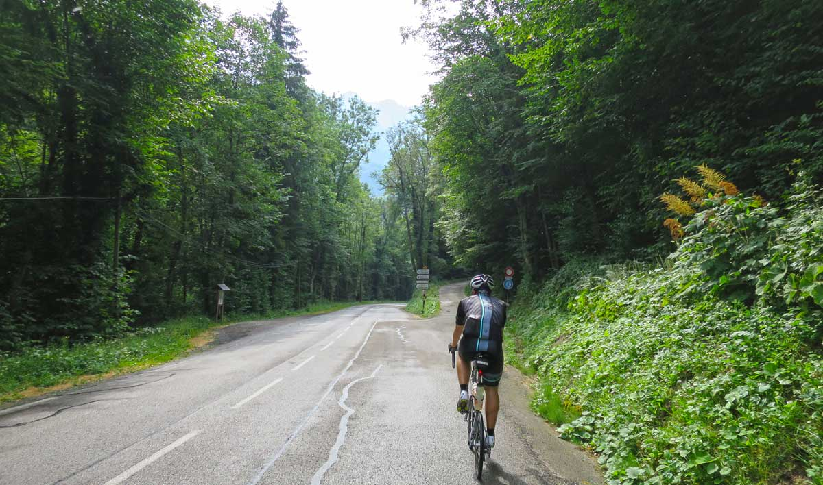 This innocent little road takes you up the backside of the Col de la Charmette. The FUN side.