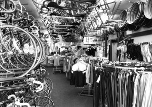 Still in the 80s, we were rapidly outgrowing our space! Classic ouverstuffed bike shop chic.