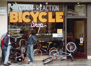 Earliest known photo of Chain Reaction Bicycles, 1980. A bit different then than now! Today, the BMX kids have been replaced by fixies.
