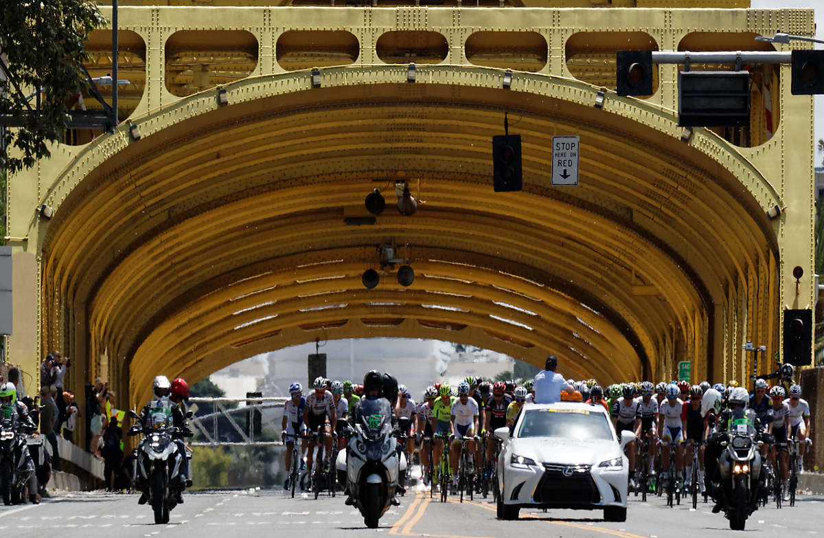 The Tour of California riding across the Tower Bridge in Sacramento