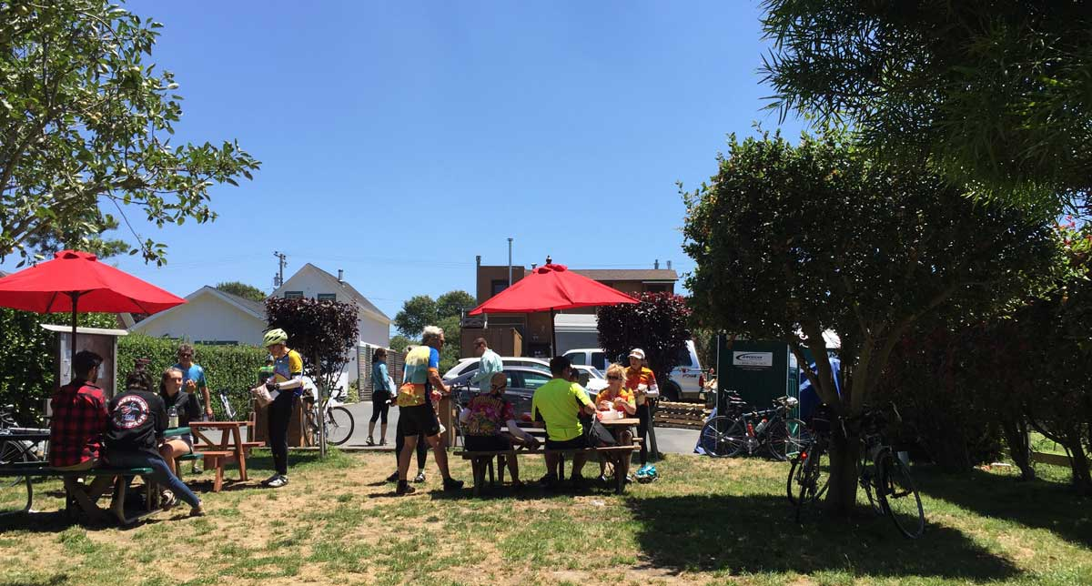 You can try to avoid the Pescadero Bakery and its picnic area behind the store, along with its bicycle pump and repair station... but why?