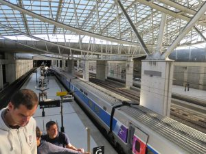 Arrival at Paris Airport (CDG) via TGV high-speed train from Lyon. Just 12 hours earlier it was very doubtful we'd be here at this moment.