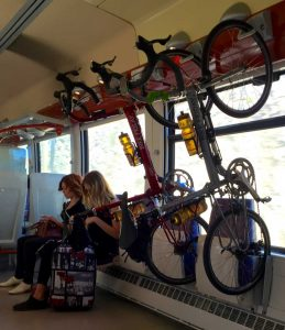 Our bikes on the train to Beziers.