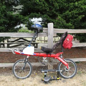 Trek R200 recumbent for sale outside the Bike Hut